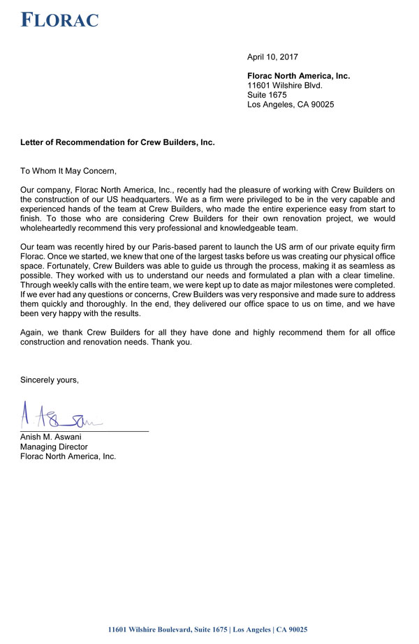 Letter Of Recommendation For A Company from www.crewbuilders.com